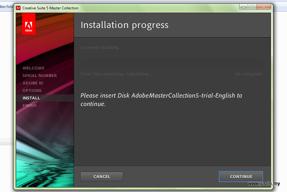 Solved]Please insert Disk AdobeMasterCollection5-trial-English to ...