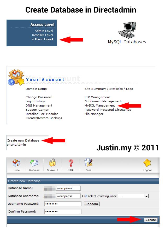 How to create MySQL database in Directadmin