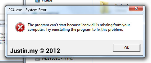 The program can\u0027t start because iconv.dll is missing from your