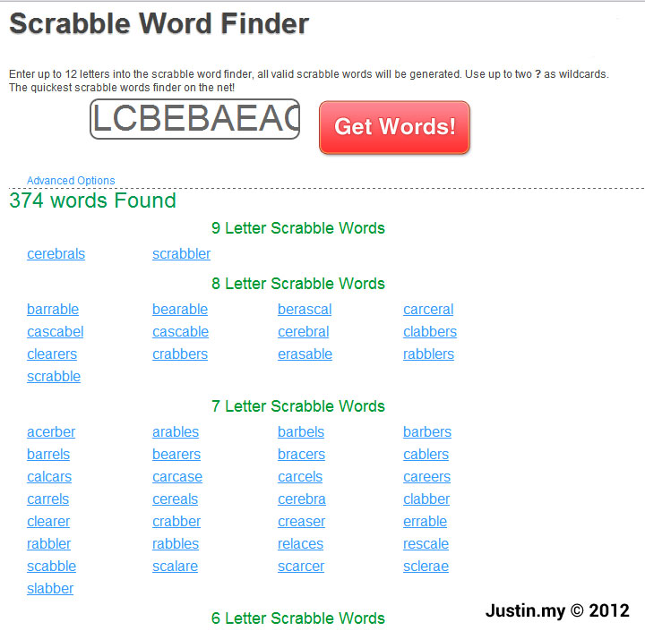 Word Finder  Letters