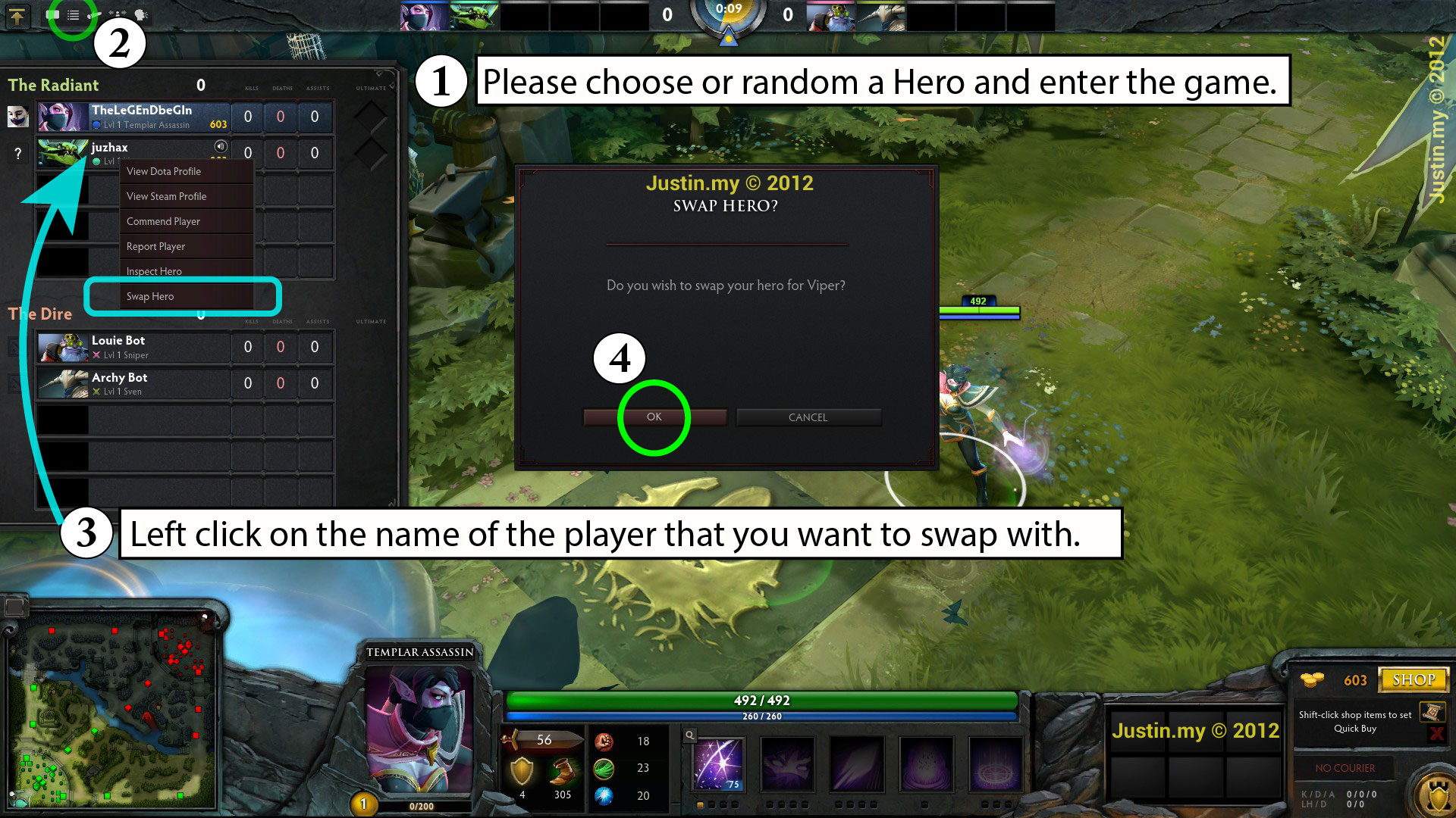how to swap hero in dota 2 justin my
