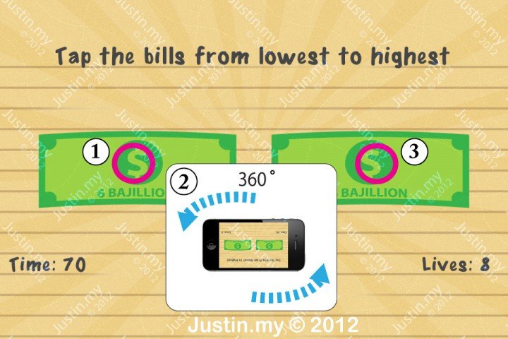Impssible Test 2 - Tap the bills from lowest to highest