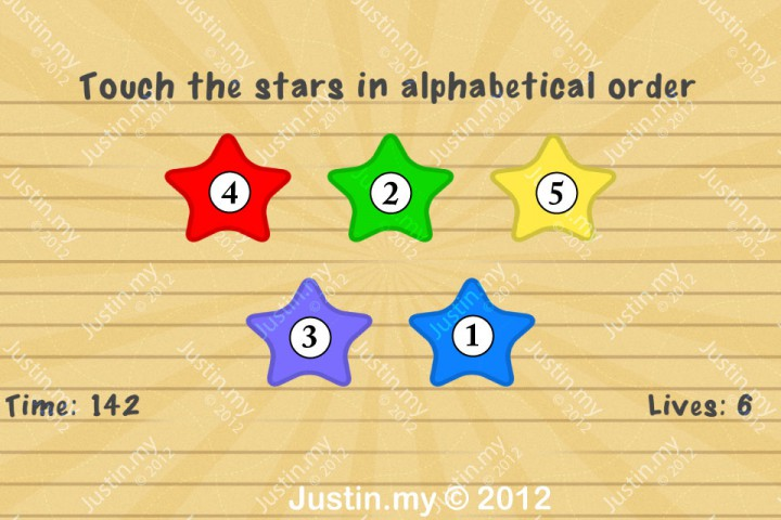 Impssible Test 2 - Touch the stars in alphabetical order
