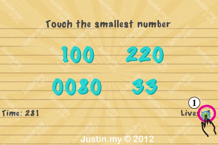 Impssible Test 2 - Touch the smallest number