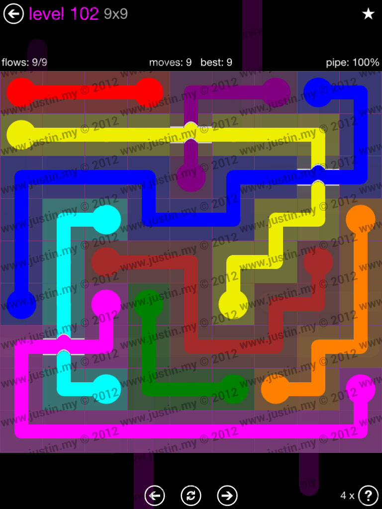 Flow Bridges 9x9 Mania Level 102