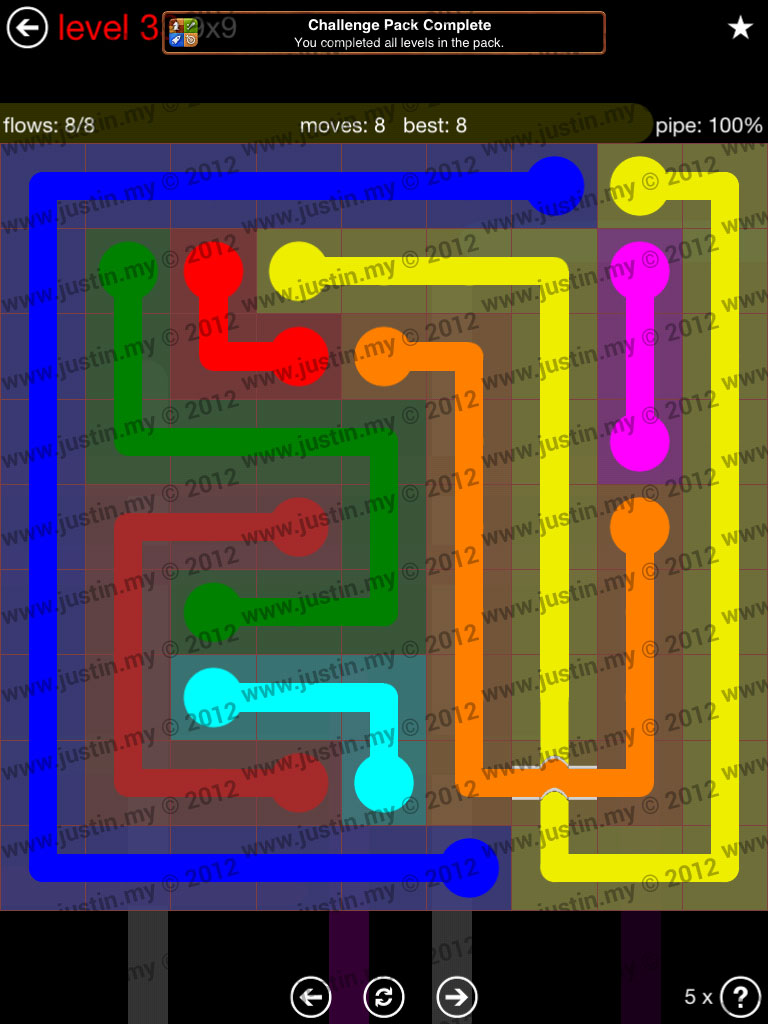 Flow Bridges 9x9 Level 33